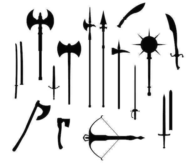 Tipo di guerra medievale di arma, set icona balestra, spada, ascia, mazza luccio e katana vecchia sagoma nera armi fredde, isolato su bianco attrezzatura piatta dell'arma da mischia del mondo del delitto.