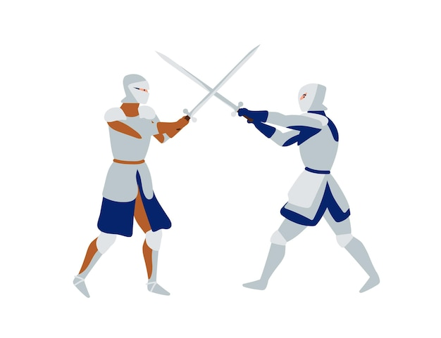 Guerrieri medievali che combattono l'illustrazione piana di vettore. spadaccini che indossano armature complete, soldati con personaggi dei cartoni animati di spade. battaglia storica. elemento di design del torneo di cavalieri.