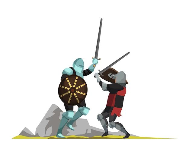 Guerrieri medievali che combattono con l'illustrazione piatta delle spade, scena di guerra del medioevo, personaggi dei cartoni animati di guerrieri armati. torneo, giostra, elemento di design isolato combattenti antichi