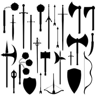 Vettore di arte di clip della siluetta delle armi medievali