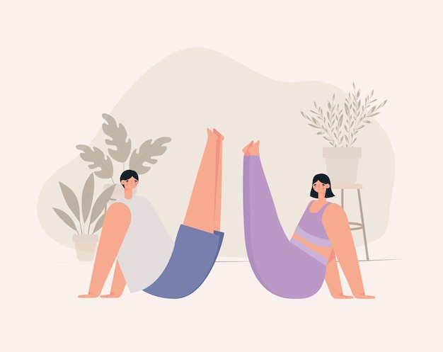 Illustrazione di coppia meditando