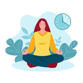 Meditando donna ragazza in natura sullo sfondo di foglie piante orologio timer