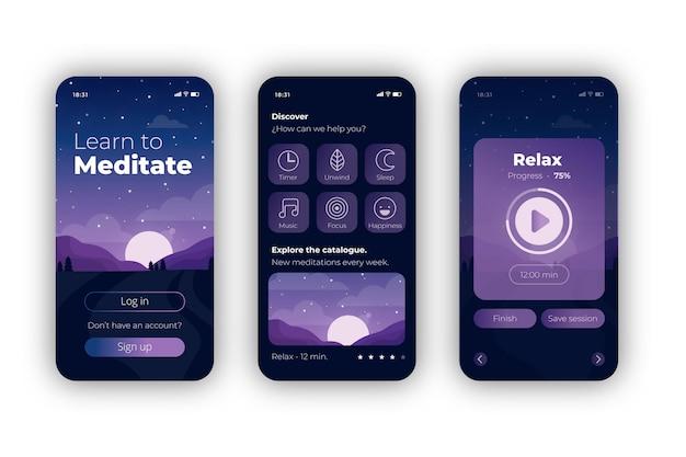 Concetto di app di meditazione