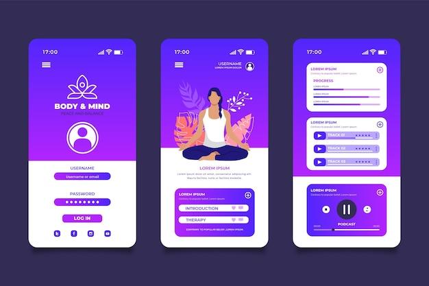 Interfaccia dell'app di meditazione