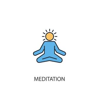 Concetto di meditazione 2 icona linea colorata. illustrazione semplice dell'elemento giallo e blu. disegno del simbolo del contorno del concetto di meditazione