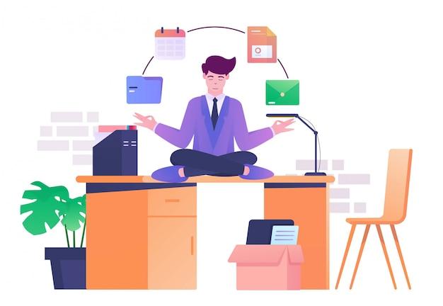 Meditazione sulla scrivania illustrazione piatta