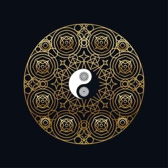 Modello dell'icona di meditazione con il segno dorato di yin yang nel profilo della mandala sull'illustrazione lineare di vettore del fondo nero. disegno di simbolo orientale tradizionale. cultura asiatica e concetto di equilibrio