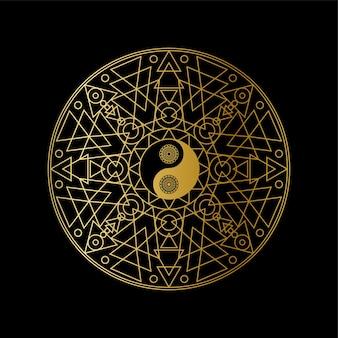 Modello dell'icona di meditazione con il segno dorato di yin yang nel profilo della mandala sull'illustrazione lineare di vettore del fondo nero.