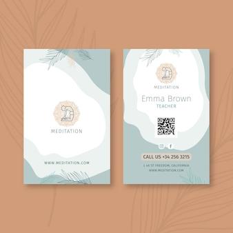 Biglietto da visita fronte-retro di meditazione e consapevolezza