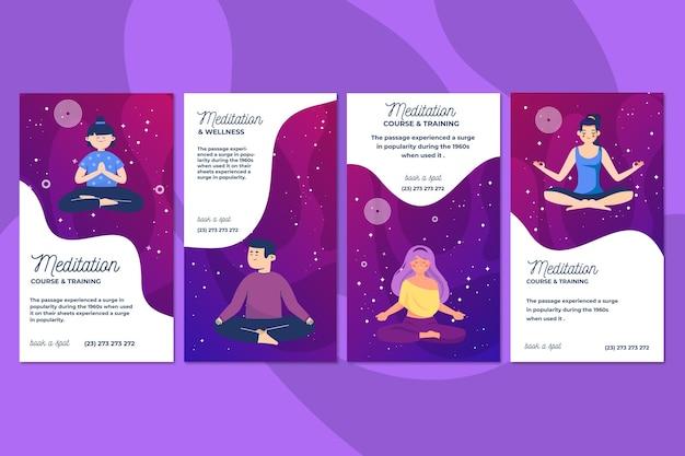 Storie di instagram di meditazione e consapevolezza Vettore Premium