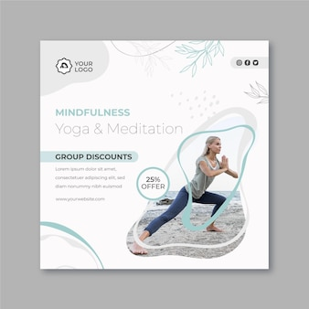 Modello di volantino quadrato meditazione e consapevolezza