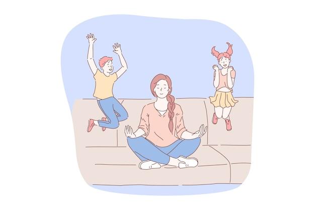 Meditazione, rilassamento durante lo stress, concetto di concentrazione.