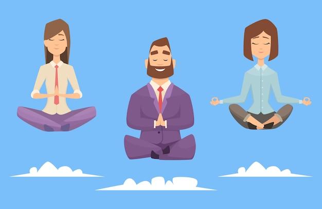 Gruppo di affari di meditazione yoga. uomini d'affari di carattere rilassante in pose di meditazione