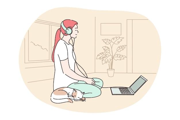 Meditazione, yoga, concetto di relax.