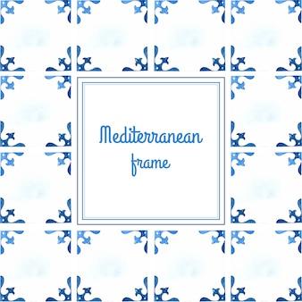 Cornice dell'acquerello di piastrelle mediterranee Vettore Premium