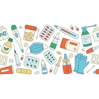 Meds, farmaci, pillole, bottiglie e sfondo di elementi medici sanitari