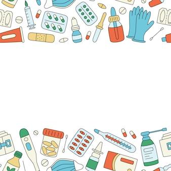 Bottiglie di pillole di farmaci medicinali ed elementi medici di assistenza sanitaria illustrazione vettoriale a colori