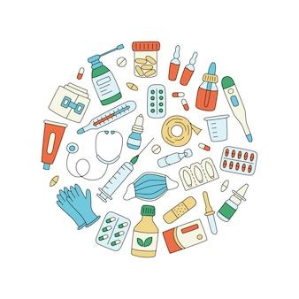 Meds, farmaci, pillole, bottiglie ed elementi medici sanitari. illustrazione a forma di cerchio