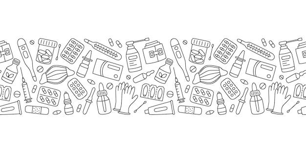 Bottiglie di pillole di farmaci medicinali ed elementi medici di assistenza sanitaria illustrazione vettoriale