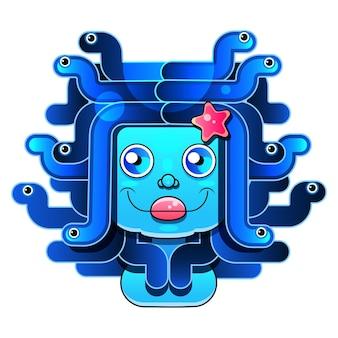Emblema di vettore testa di medusa. cartone animato bambino roba stampabile e t-shirt, biglietto di auguri, arte della parete della scuola materna, cartolina