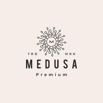 Medusa mandala m lettera hipster logo vintage icona illustrazione Vettore Premium