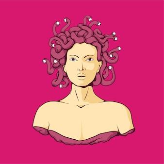 Medusa in sfondo rosa