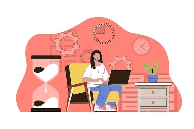 Rispettare il concetto di scadenza il dipendente che lavora sul laptop il tempo delle attività sta per scadere