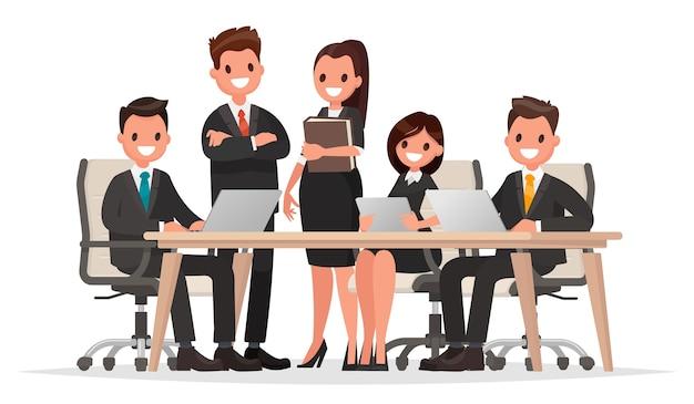 Illustrazione di persone di affari di riunione