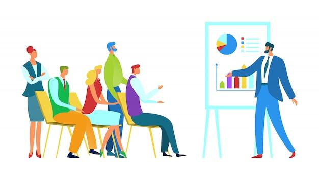 Illustrazione di concetto di addestramento di affari di riunione. le persone del gruppo ricevono istruzione professionale. l'oratore tiene una conferenza per la squadra.