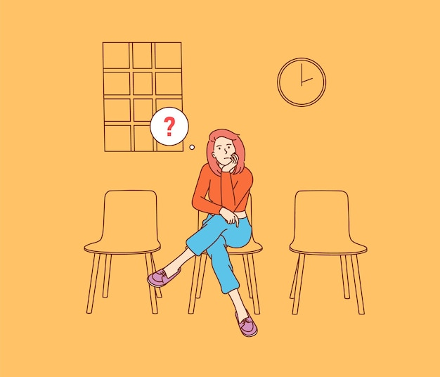 Incontro, ritardare le vacanze. giovane donna infelice seduta pensierosa.