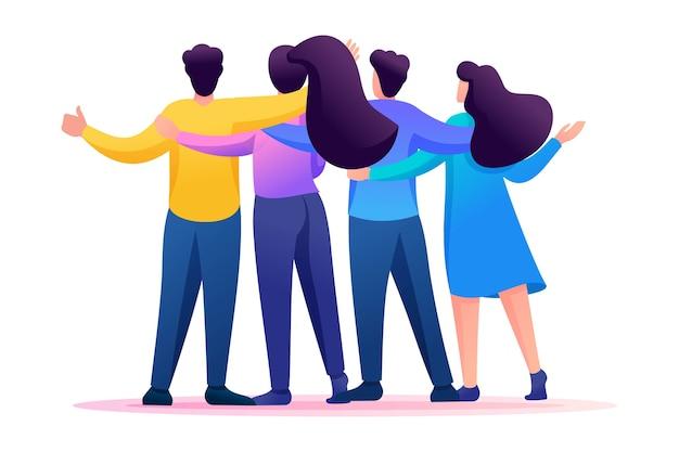 Incontrare gli amici, gli amici stanno in piedi in un abbraccio, gioia, amicizia.