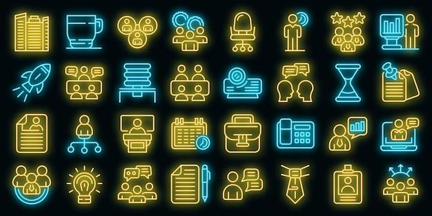 Set di icone di riunione. delineare l'insieme delle icone vettoriali delle riunioni di colore neon su nero