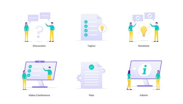 Illustrazione di riunione. gestione aziendale e strategia aziendale