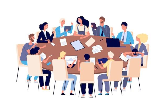 Incontro a tavola. persone che discutono di idee e problemi in ufficio. concetto di vettore di lavoro di squadra, brainstorming e conferenza di lavoro. illustrazione uomo d'affari ufficio e donna al tavolo