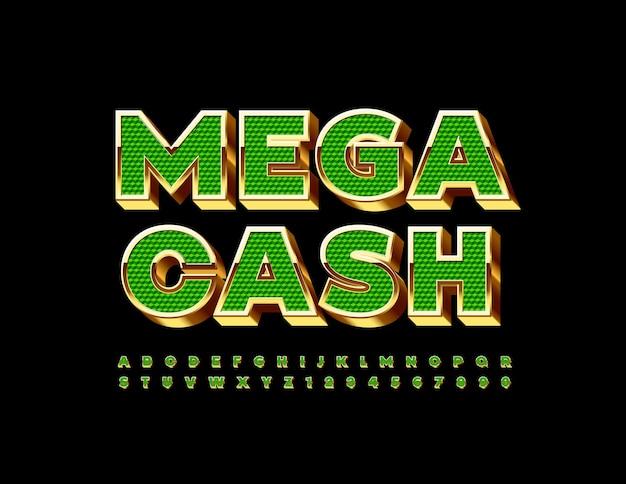 Set di lettere e numeri dell'alfabeto di lusso con caratteri 3d in oro e verde mega cash