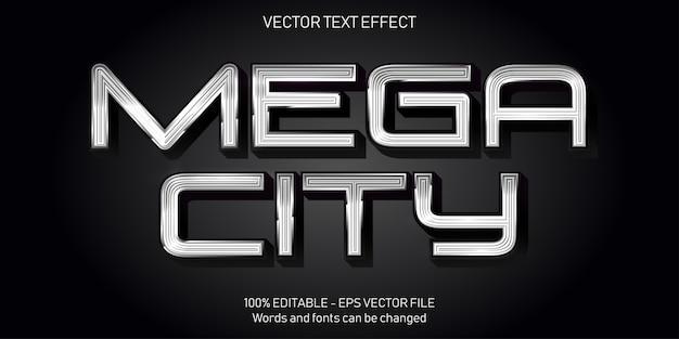 Illustrazione del testo della città mega in design piatto
