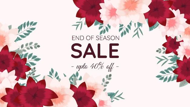 Mega banner web di vendita di fine stagione modello di sfondo floreale modificabile multi colore con fiori
