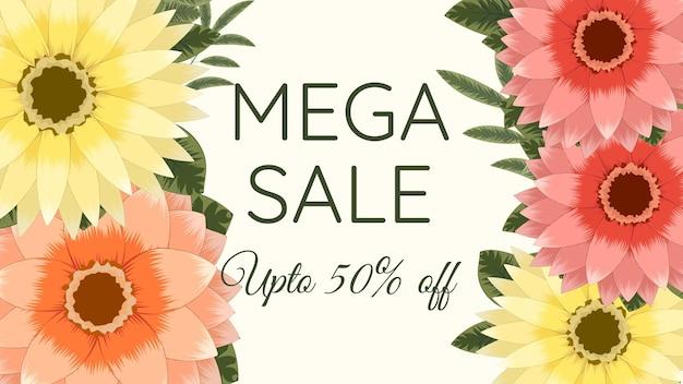 Banner web promozionale mega flash sale modello di sfondo con cornice floreale modificabile gialla con fiori