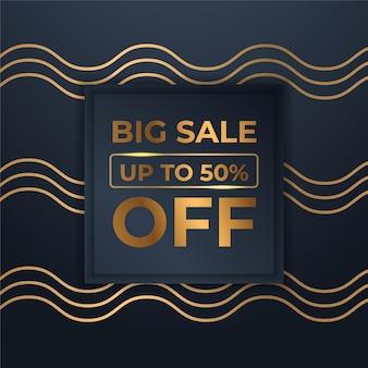 Mega flash banner di vendita con oro nero per le vendite
