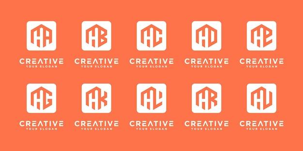 Mega logo collection h ed ecc. modello di progettazione del logo del monogramma.