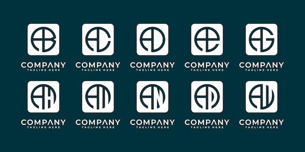 Mega logo monogramma, iniziale, alfabeto e raccolta del logo della lettera a ed ecc.
