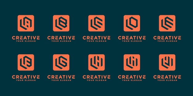 Mega logo monogramma, iniziale, alfabeto e lettera logo collezione l ed ecc. modelli di design del logo.