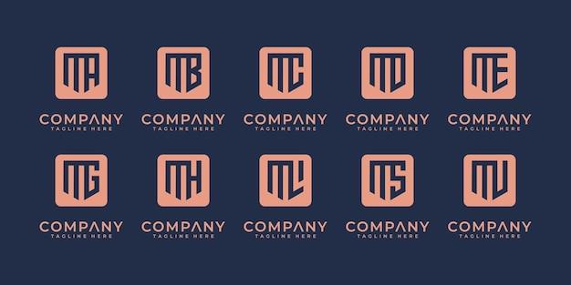 Mega logo monogramma, iniziale, alfabeto e lettera logo collezione m ed ecc modelli di progettazione del logo.