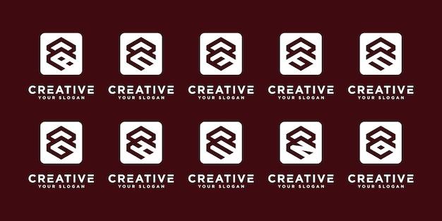 Mega logo monogramma, iniziale, alfabeto e lettera logo raccolta r ed ecc modelli di progettazione del logo.