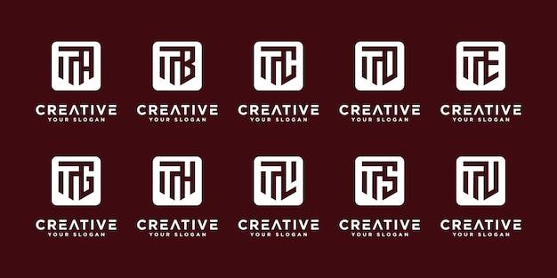 Mega logo monogramma, iniziale, alfabeto e lettera logo collezione t ed ecc modelli di progettazione del logo.