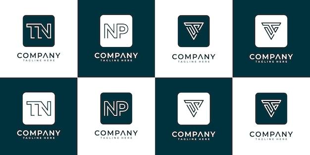 Mega logo monogramma, iniziale, alfabeto e lettera logo raccolta a - z