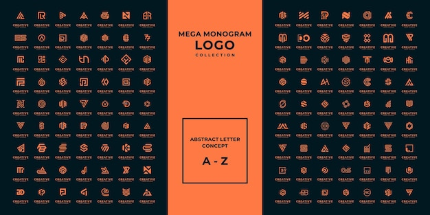 Mega logo monogramma, iniziale, alfabeto e lettera logo collezione a - z