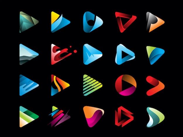 Mega pack di icona del pulsante play gradiente