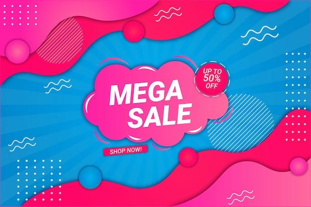 Mega vendita sfondo blu e rosa stile fluido
