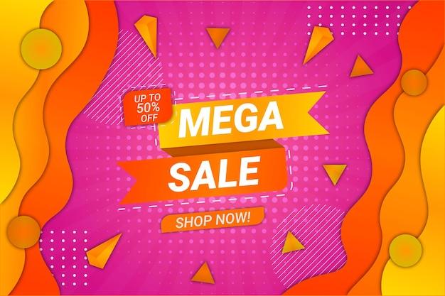 Mega vendita sfondo rosa e blu stile fluido